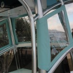 Our Windscreen attaches securely to your T-Top Frame shown on a custom T-Top on a Shoalwater Cat